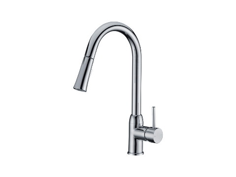 Single-lever pull-down kitchen mixer